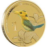 Желтоклювый Зимородок - Тувалу, 1 доллар, 2013 год