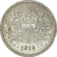Австро-Венгрия, 1 крона, 1915 год, Франц Иосиф I, серебро