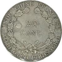 Французский Индокитай, 20 центов, 1937 год, серебро