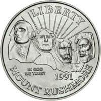 Гора Рашмор - США, полдоллара, 1991 год