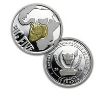 Конго, 10 франков, 2013 год, большая пятерка, 1/10 oz