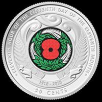 День перемирия - Новая Зеландия, 50 центов, 2018 год (цветная эмаль)