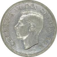 """Канада, 1 доллар, 1949 г., """"Вхождение Ньюфаундленда в состав Канады"""", серебро"""