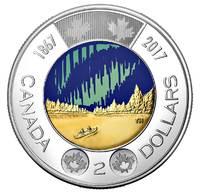 150 лет Конфедерации - Канада 2017, 2 доллара (цветная)