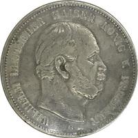 Пруссия, 5 марок, 1875 год, Вильгельм I, серебро