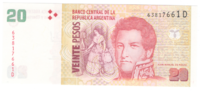 Аргентина 20 песо 2014 год