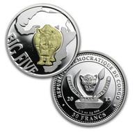 Конго, 30 франков, 2013 год, большая пятерка, 1/4 oz