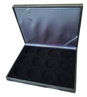 Коробка Nera XM из искусственной кожи для 12 монет в капсулах (диаметр 44 мм)