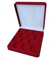 Коробка на 12 монет в капсулах (диаметр 44 мм) бордо