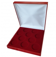 Коробка из кожзама на 10 монет в капсулах (диаметр 44 мм)