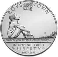 """Boys Town Centennial"" (""100-летие приюта для сирот"") - 1 доллар США 2017 год, UNC"