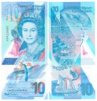 Карибские острова 10 долларов 2019 год (полимер)