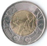 "100 лет стихотворению ""На полях Фландрии"" - Канада, 2 доллара, 2015 год"