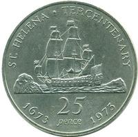 о.Святой Елены 300-летие, 25 пенсов, 1973 год