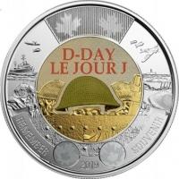 75 лет высадки союзников в Нормандии - Канада, 2 доллара, 2019 год