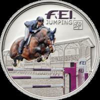 """FEI. Jumping"" - Конный спорт. Прыжки, монета Андорры"