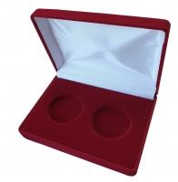 Бархатная подарочная коробка на 2 монеты (диаметр 44 мм)