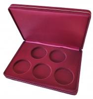 Коробка замшевая на 5 монет в капсулах (диаметр 46 мм)