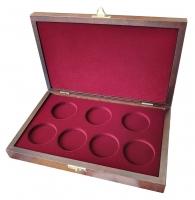 Деревянный футляр Vintage для 7 монет в капсулах (диаметр 46 мм)