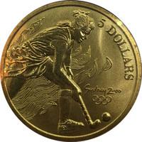 """Олимпийские игры в Сиднее, Австралия. 5 долларов, 2000г - """"Хоккей"""""""