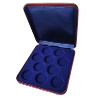 Коробка замшевая на 10 монет в капсулах (диаметр 44 мм)
