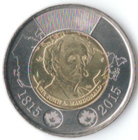 200 лет со дня рождения Джона Макдональда - Канада, 2 доллара, 2015 год