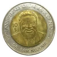 """Намибия 10 долларов 2010 год - """"20 лет банку Намибии"""""""