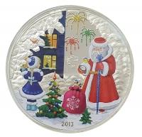 С новым годом! Санта Клаус - о.Кука, 5 долларов, 2013 год