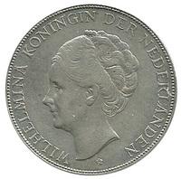 Нидерланды, 2 1/2 гульдена, 1930 год, Вильгельмина, серебро