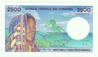Коморские острова, 2500 франков, 1997 год, редкая!!!