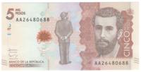 Колумбия, номинал 5000 песо, 2015 год