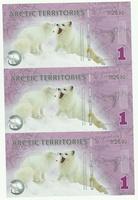 Арктика, 1 доллар, полимер. Тройная банкнота.