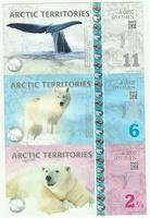 Арктика, 2 1/2-6-11 долларов, полимер. Тройная банкнота.