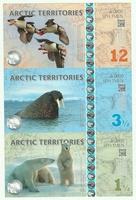 Арктика, 1 1/2-3 1/2-12 долларов, полимер. Тройная банкнота.