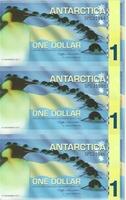 Антарктика, 1 доллар, полимер. Тройная банкнота
