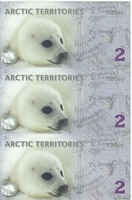 Арктика, 2 доллара, полимер. Тройная банкнота.