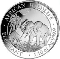 Монета Слон - Сомали, 10 шиллингов, 2017 год (3,11 грамм)