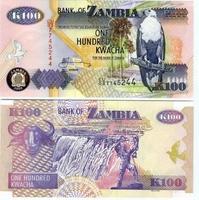 100 kwacha (квача), Замбия