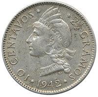 Республика Доминикана, 10 сентаво, 1942 год
