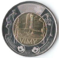100 лет битвы при Вими-Ридже - Канада, 2 доллара, 2017 год