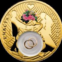 Свадебная монета с позолотой